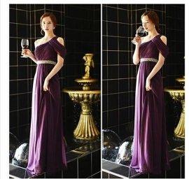 2014新款婚纱礼服新娘敬酒服优雅紫色礼服伴娘单肩晚礼服长款修身