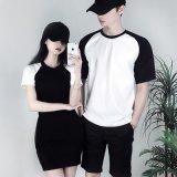 qlz短袖T恤情侶裝定做夏裝新款POLO衫修身圓領中長款撞色活動衫