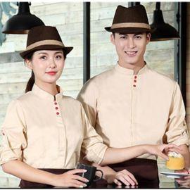 餐饮酒店服务员长袖饭店工作服秋装西餐厅韩式料理烤肉店工服米色