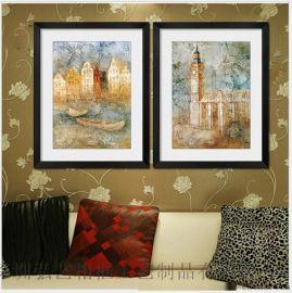 抽象装饰画批发 现代客厅两组合建筑风景抽象装饰画 简约有框画
