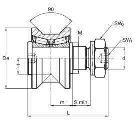 供应圆锥螺栓滚轮RKU55轴承带偏心RKUR55
