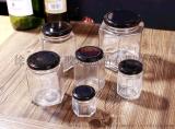 储物密封罐,六棱果酱瓶,蜂蜜玻璃瓶