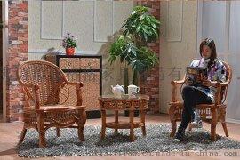 藤格格 9918 厂家批发阳台藤椅室内藤编办公椅子单人老人靠背椅家用休闲手工编织椅子