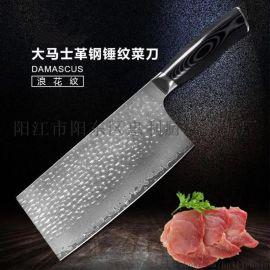 阳江惠利7.3寸大马士革钢中式菜刀锤纹钢切肉刀