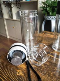 功夫玻璃茶水杯子耐熱帶蓋過濾茶水分離創意泡茶杯