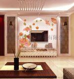 佛山陶瓷背景牆廠家個性定製彩虹石品牌現代簡約客廳電視背景牆瓷磚 夢幻花朵明媚  藝術瓷磚壁畫
