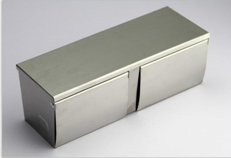 不鏽鋼雙捲紙盒橫式壁掛打孔固定安裝