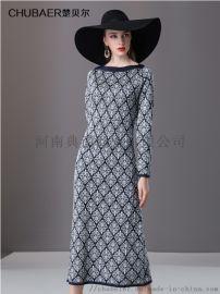 楚貝爾秋冬連衣裙女復古印花長款高腰印花氣質打底長裙