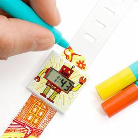 厂家定制新款儿童电子礼品环保DIY涂鸦纸手表