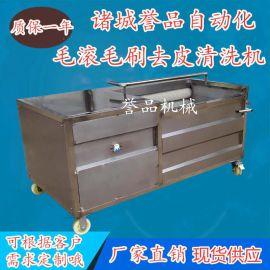 厂家加工喷淋式白萝卜毛辊清洗机 不锈钢九辊毛刷清洗土豆机器