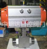 气动三片式高温高压球阀,气动对焊高压球阀
