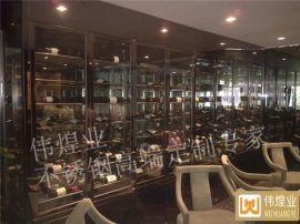 酒吧华丽型浅啡色不锈钢酒柜-常温不锈钢酒柜专业定制