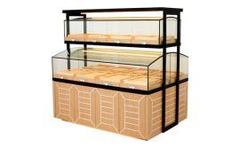 面包展示柜 供应木纹中岛面包展示柜  一层中岛面包柜  订做面包保鲜柜