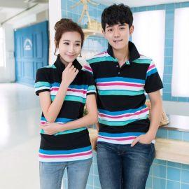 夏季新款韓版男女條紋休閒翻領T恤衫情侶裝大碼工作服定做logo
