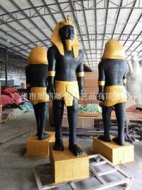 厂家批发玻璃钢法老金人雕塑 复古仿真法老人物景观雕塑定制厂家