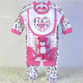外贸童装婴童套装纯棉**五件套公仔口水巾三角哈衣长裤睡衣