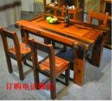 老船木圆形餐桌椅组合餐厅仿古实木家具中式转盘饭桌