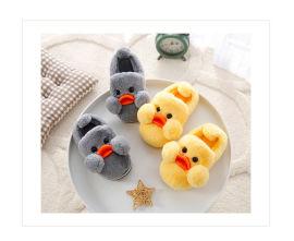 厂家定制各类中高端儿童棉拖鞋可爱卡通小黄鸭毛绒拖鞋