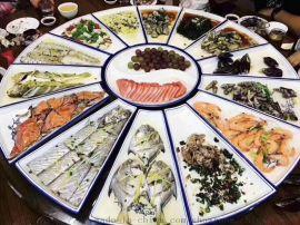 一米陶瓷海鲜大盘子景德镇青花瓷盘特大酒店分格分块大菜盘厂家