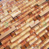 三亞海口蓬萊鎮高質量13面鑽時尚搭配茶色水晶玻璃夾膠金屬馬賽克背景牆生產廠家直銷