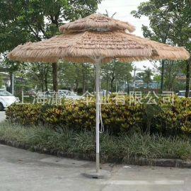 仿真稻草伞、海滩遮阳伞、户外太阳伞、沙滩伞加工定制