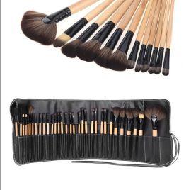 32支木柄专业化妆刷套刷柔软32PCS Superior Soft Cosmetic Makeup Brush Set Kit with Black
