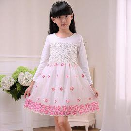 2015秋季新款女童连衣裙韩版童装 中大童蕾丝纯棉长袖时尚连衣裙