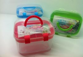 XY-205 透明塑料医药箱/塑料收纳盒/双层塑料收纳箱 LOGO 定制