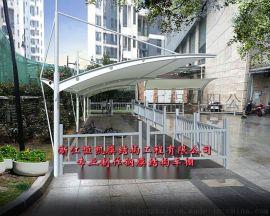 黄石膜结构自行车棚、仙桃广场张拉膜景观棚
