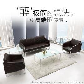 简约现代办公沙发商务接待会客沙发办公室皮艺单三人沙发茶几组合