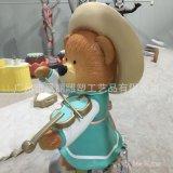 玻璃钢拉琴小棕熊玻璃钢乐器主题雕塑摆件 商城美陈动物雕塑