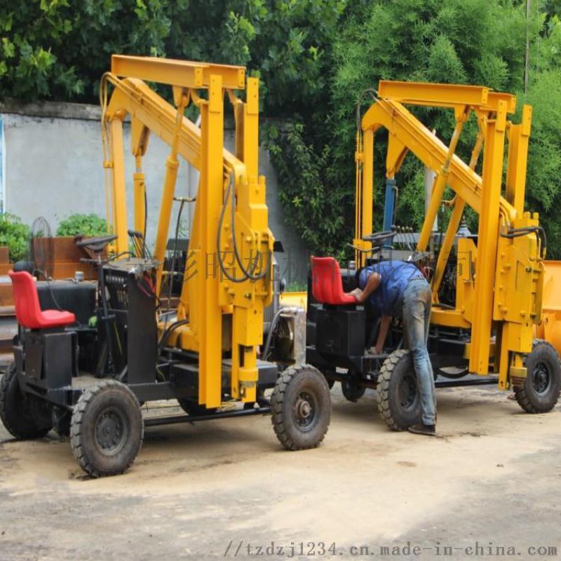 护栏钻孔机柴油双缸公路护栏打桩机