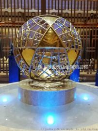 佛山金筑达 供应酒店大堂钛金色镂空不锈钢风水球