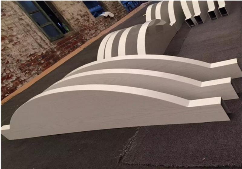 西餐厅吊顶铝方通 家居广场铝方通 灰色造型铝方通