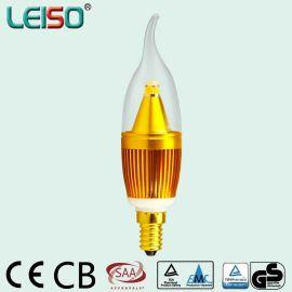 LEISO蜡烛灯金色拉尾 ,5W可定制可调光, E14/E14