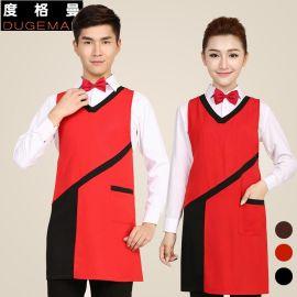 韩版时尚超市围裙奶茶店咖啡厅围裙印字logo餐厅服务员工作服围裙
