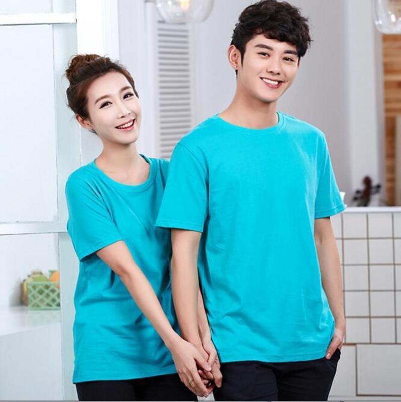 情侣装广告T恤衫广告衫印刷定做全棉纯色短袖圆领T恤来图定制LOGO