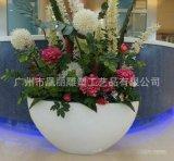 白色玻璃钢创意花盆组合 商场玻璃钢落地大花盆