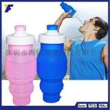 促銷禮品糖果色透明水杯創意矽膠摺疊水壺學生兒童戶外運動飲水杯