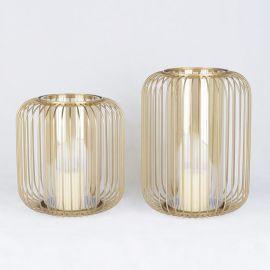 现代新古典创意铁艺灯笼鸟笼型玻璃罩烛台摆件样板房酒店软装饰品