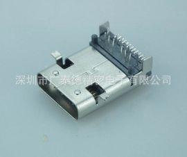 USB 3.1 Type-C母座前貼後插加長型24P前插後貼L=11.95mm 3.1母座