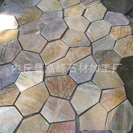 文化石黄木纹不规则片石石头板岩外墙毛石板岩地板砖网贴冰裂纹