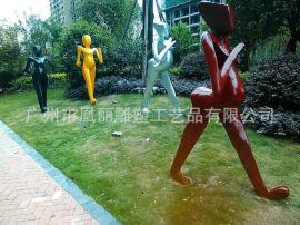 玻璃钢抽象运动人物雕塑 简易商业街人物摆件厂家定制