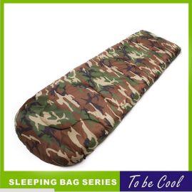 户外信封睡袋 单层200克每平方 中空棉  绿迷彩色涤纶面料