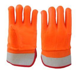 防寒劳保手套 PVC荧光磨砂面海绵复合布安袖口 外贸出口 低温防护手套
