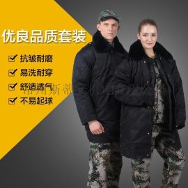 中长款防寒工作服 纯棉加厚冬款 保安大衣 多功能可拆卸内胆棉衣