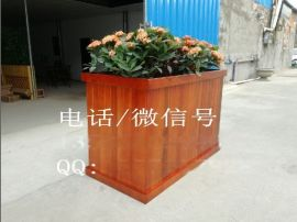 物业隔离木质花箱,优质实木花箱,花盆定做
