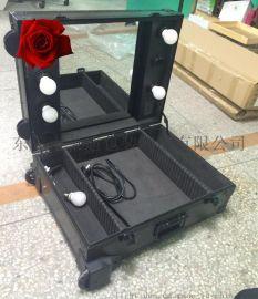 專業大型拉杆化妝箱|帶燈帶支架大號大容量大鏡面鏡子萬向輪