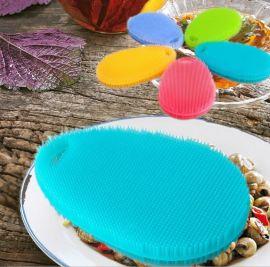 创意多功能硅胶洗碗刷子 水果清洗刷 可折叠使用的厨房清洁刷子