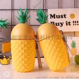 玻璃菠萝杯 代课硅胶防烫玻璃水杯菠萝